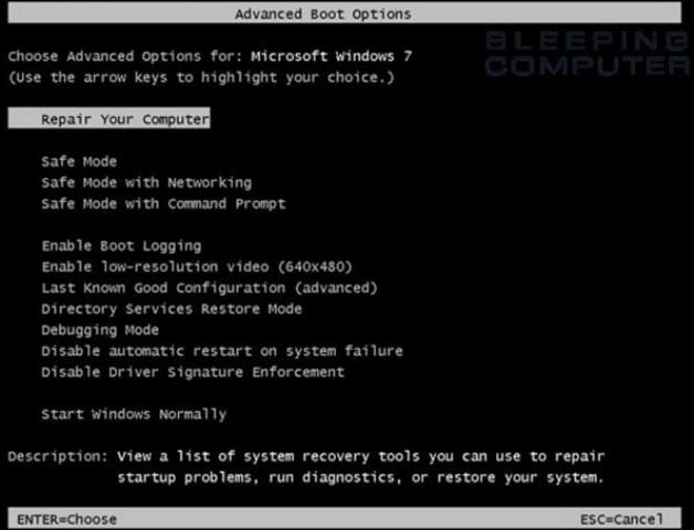 Windows 7 Advanced Boot Options screen